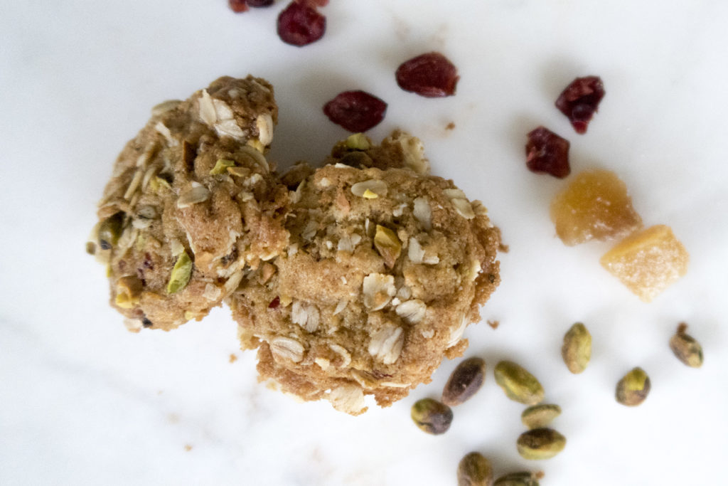 Oatmeal Ginger Cranberry Pistachio Cookies, Oatmeal, cranberry, pistachio, ginger, cookie, recipe