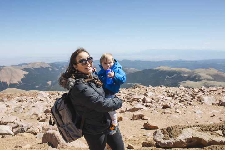Mom and Child on top of mountain