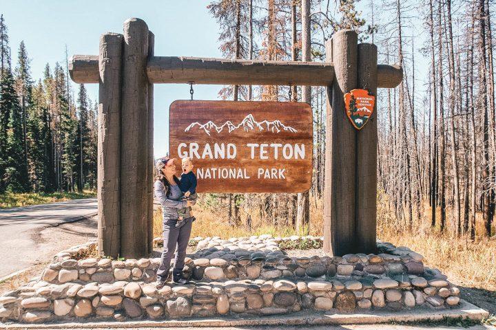Entrance sign of Grand Teton National Park
