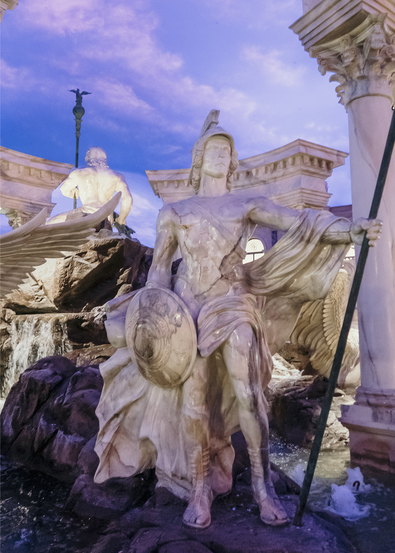 Roman statute of a warrior at the Caesar's Palace Hotel in Las Vegas