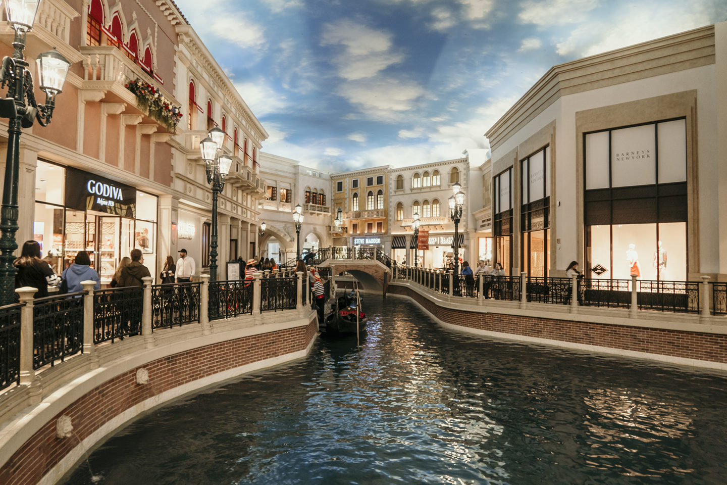 The canal and shops at the Venetian Hotel in Las Vegas