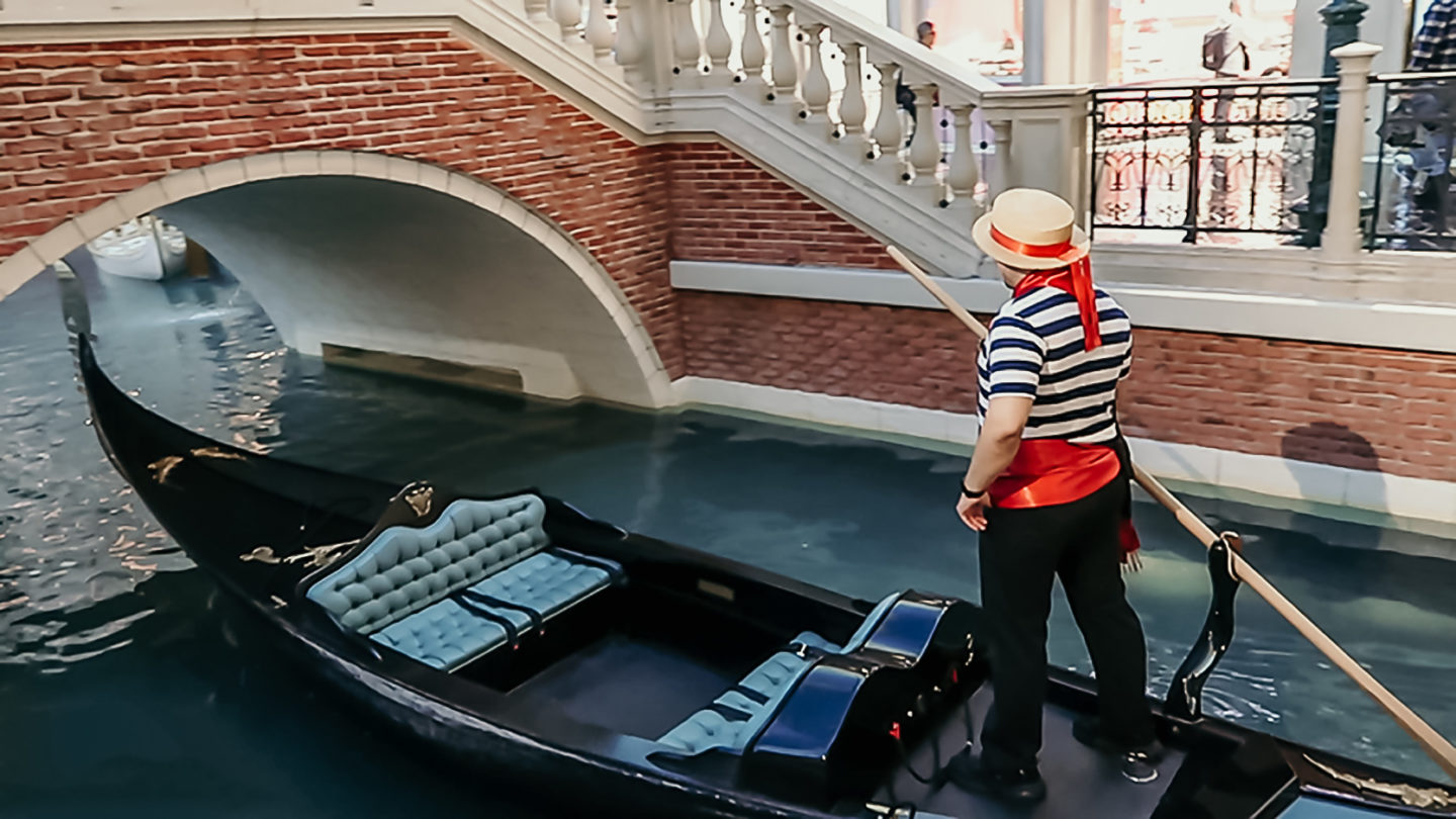 The canal and gondola at the Venetian Hotel in Las Vegas