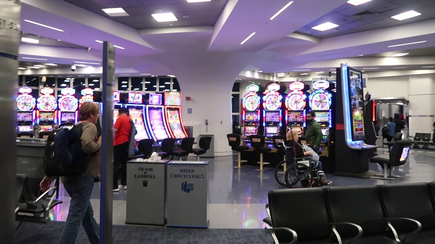 Slot machines on arrival in Las Vegas airport in Nevada