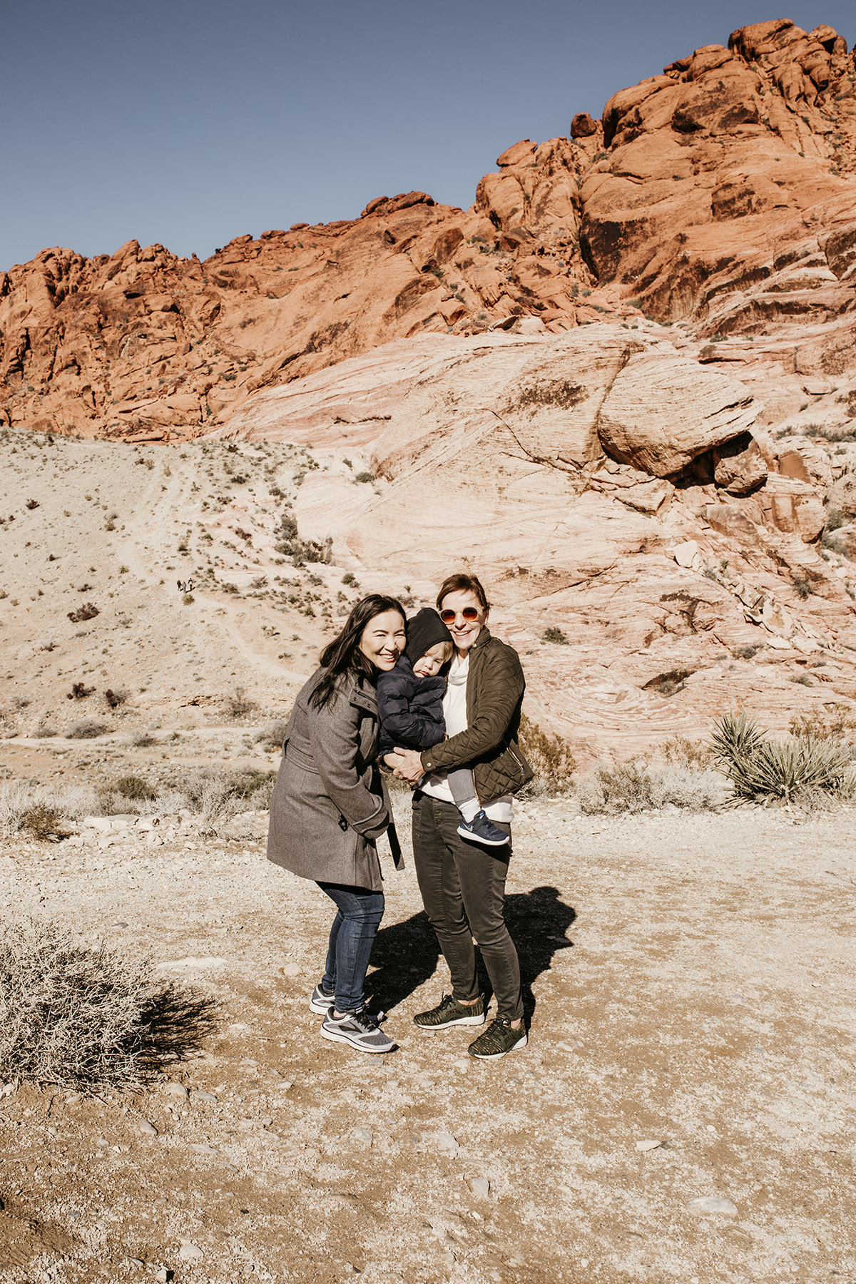 Family at Red Rock Canyon in Las Vegas