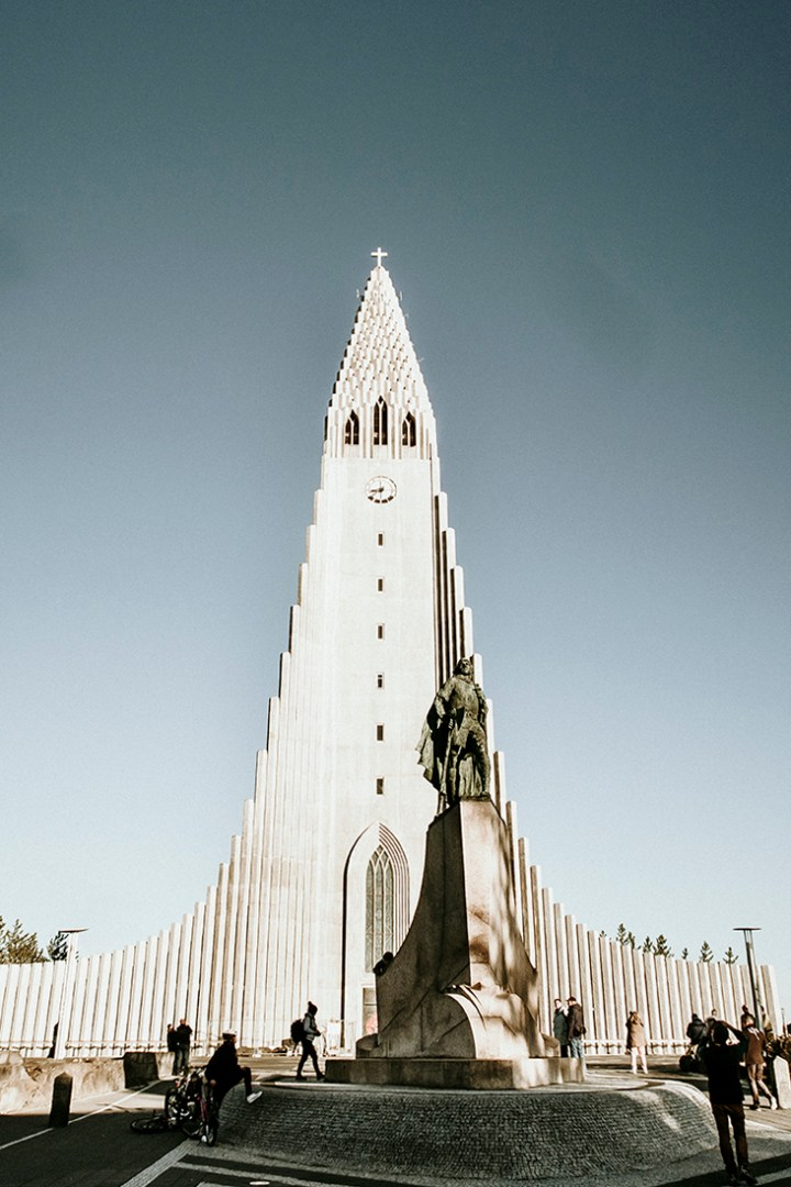 The modern church in the center of Reykjavik. It's white and super tall. Its architecture is really unique