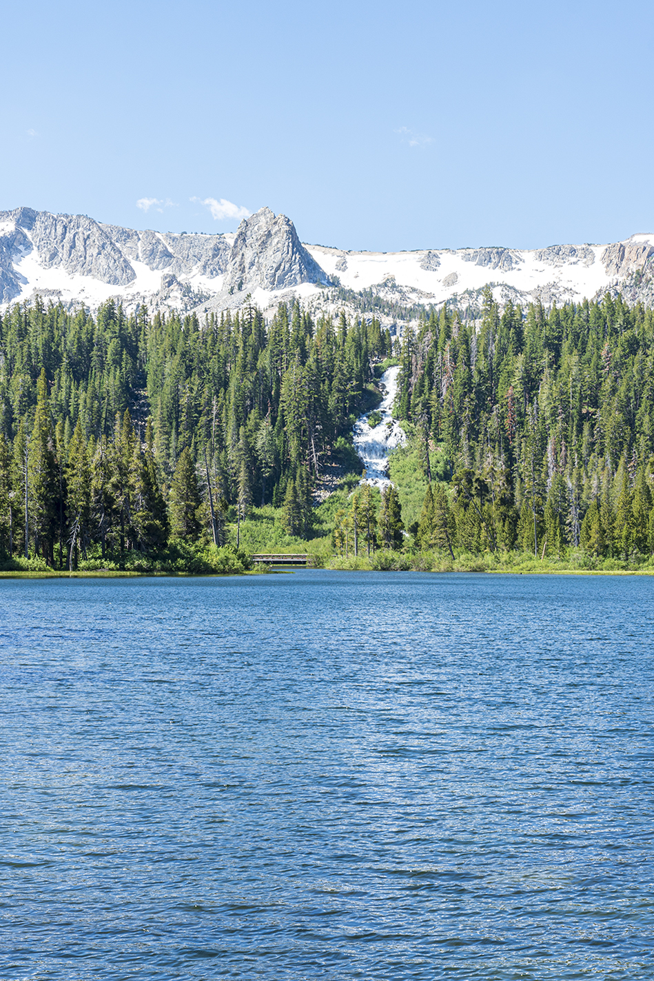 Twin Lakes and waterfall in Mammoth Lakes California