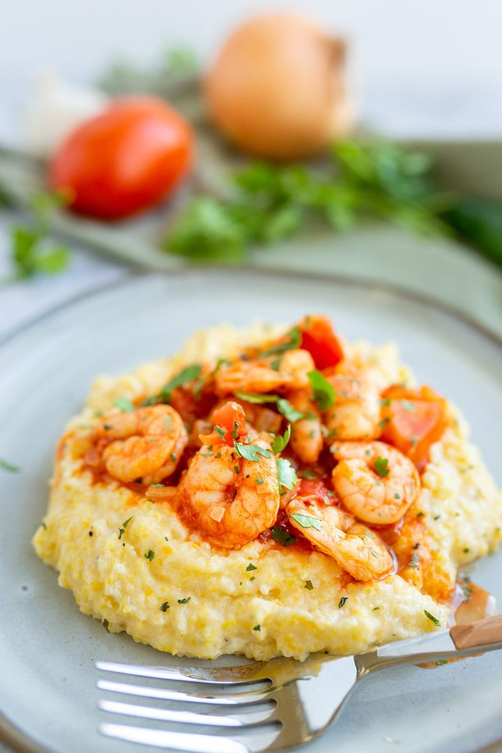 Spicy Mexican Shrimp on top of Creamy  Cheesy Polenta
