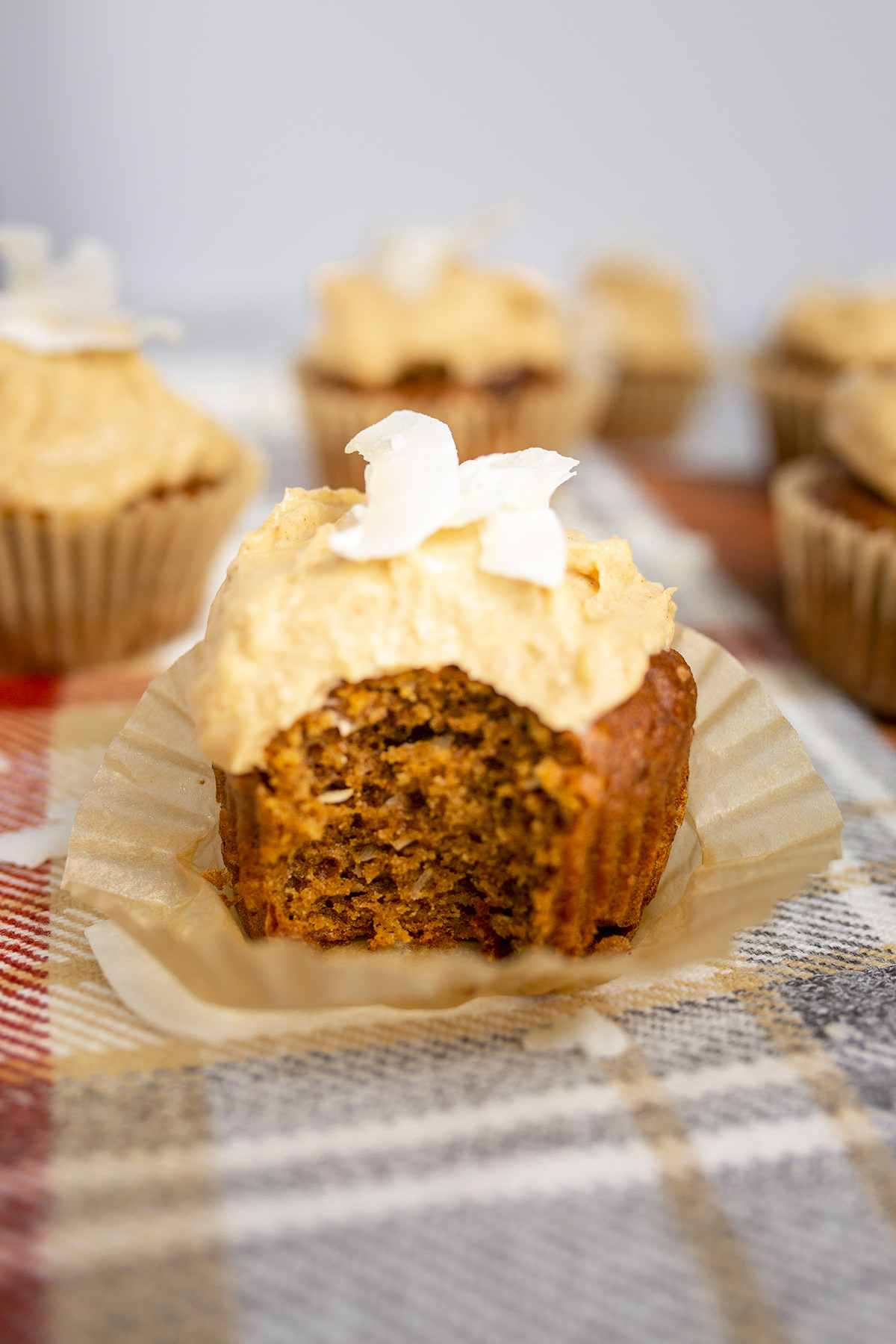 Homemade Low Carb Pumpkin Spice Cupcakes recipe made with almond flour and cream cheese icing