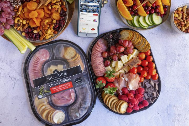 Hillshire social platter with Genoa Salami and Prosciutto, cheese and chocolate