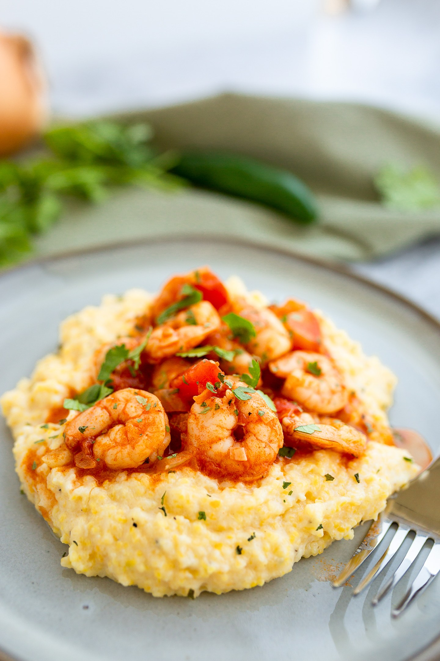 Cheesy Polenta with spicy Mexican Shrimp