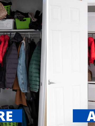 Before and After Small Coat Closet Organization Makeover