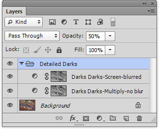 Layers panel for Detailed Darks