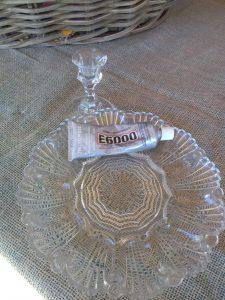 Plate, candle stick holder, e 6000