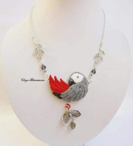 Fancy African Grey necklace
