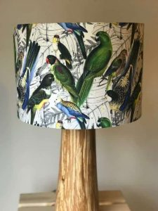 Drum shade with parrots