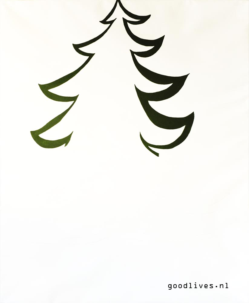 Painting the alternative Christmas tree on canvas on Goodlives.nl