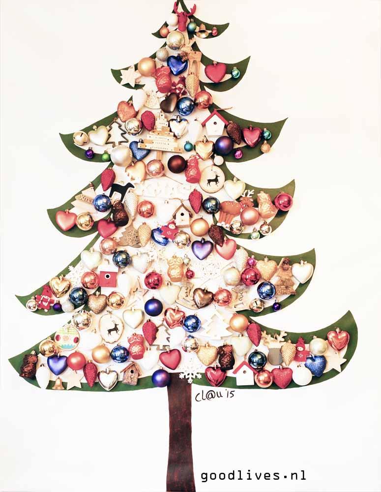 Alternatieve Kerstboom Op Doek Met Echte Kerstballen Goodlives