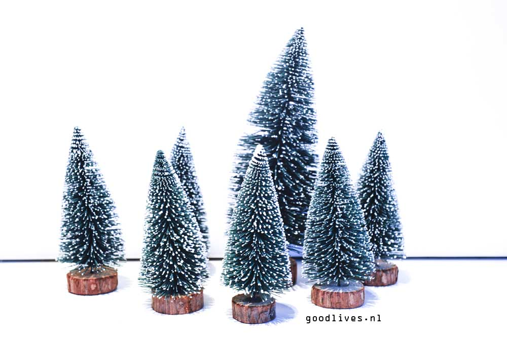 The trees for the DIY Christmas car on Goodlives.nl