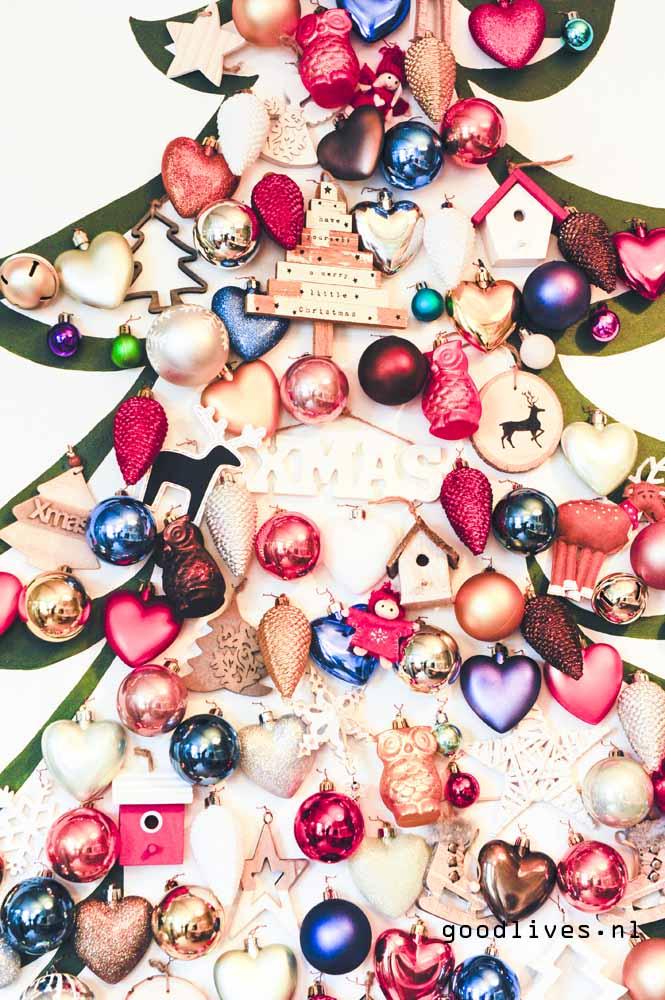 Closeup alternatieve kerstboom op doek DIY