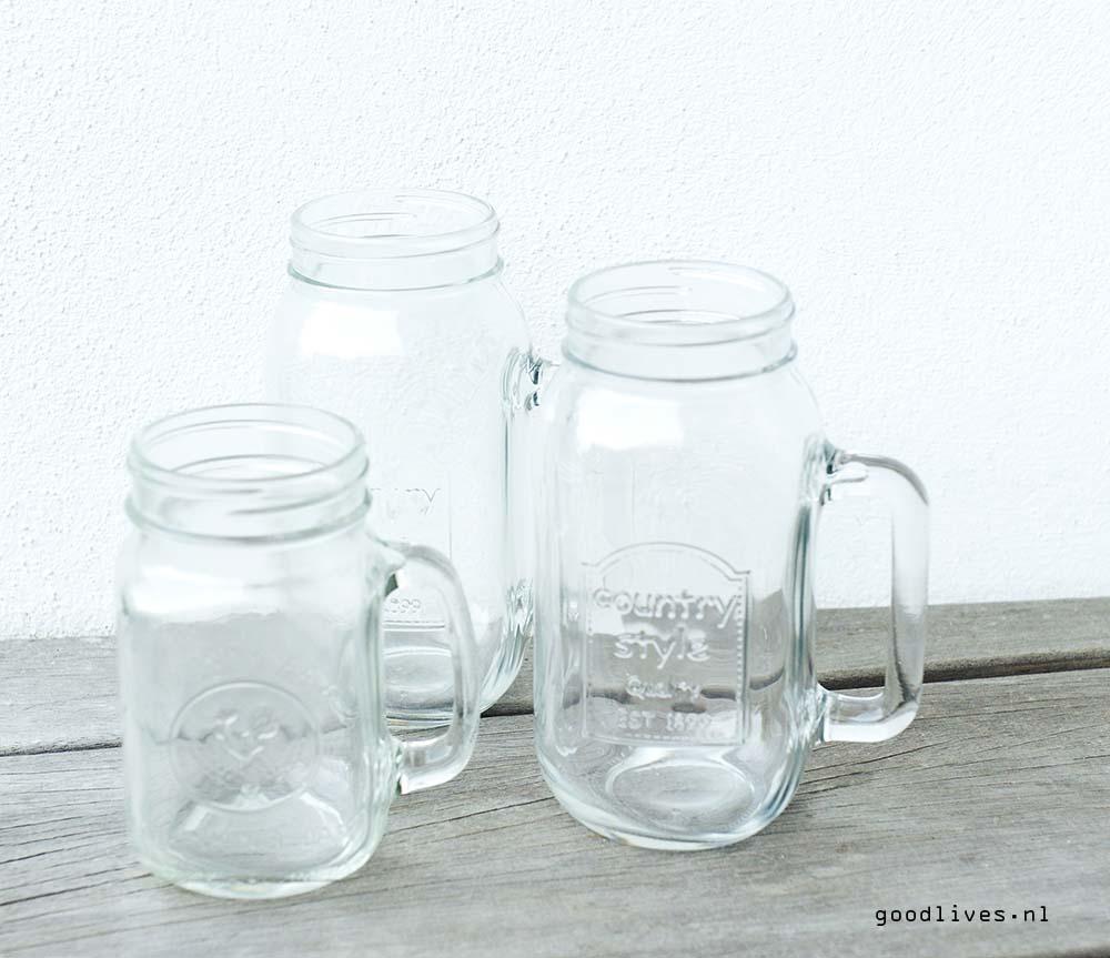 Mason jars without paint, DIY on Goodlives.nl