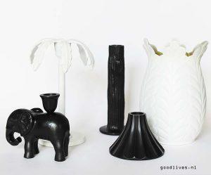 Goudkleurige spullen wit en zwart