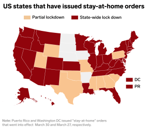 US map of statewide coronavirus restrictions