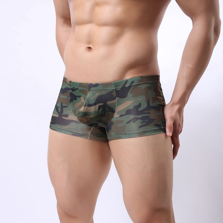 Men low waist army green boxers