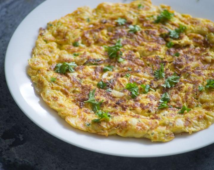 omelett med løk og klippfisk-5