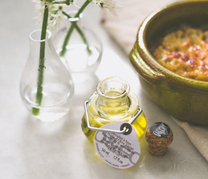 løksuppe med gratinert blomkål trøffelolje