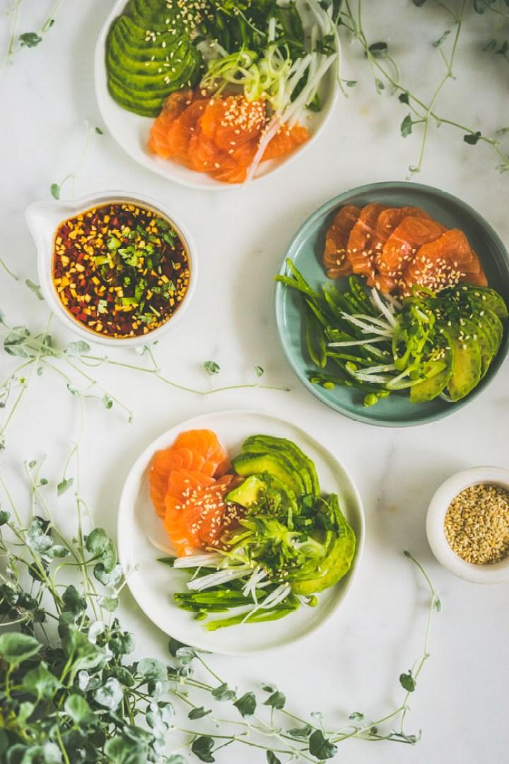 Salma sashimi med ponzusaus
