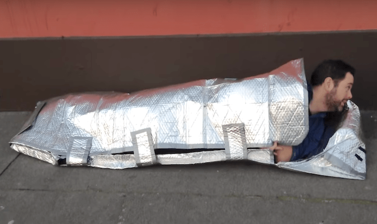 Sleeping bag for homeless screenshot TheJournal