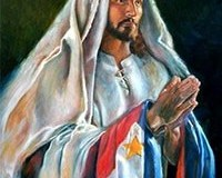 A painting of Jesus Christ with the Philippine flag