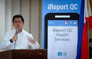 Mayor Herbert Bautista launching the iReport QC