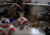Angelo Casimiro working on his DIY BB-8