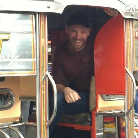 Coldplay's Jonny Buckland riding a jeepney