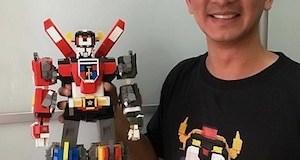 Leandro Tayag with his LEGO creation