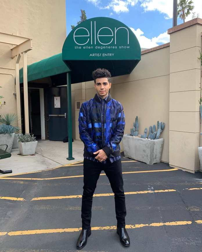 Mena Massoud wears Francis Libiran to Ellen's show