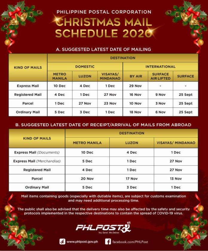 PHLPost Christmas schedule
