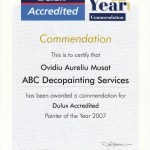 Dulux Painter of the Year Certificate. image