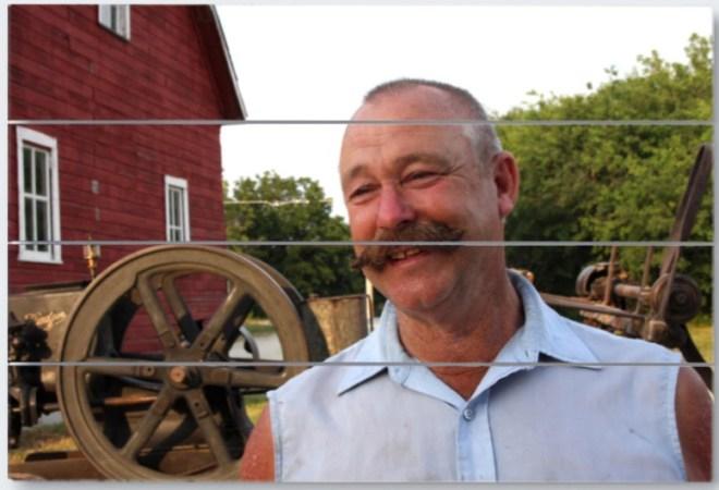 Wisconsin farmer wood panel print