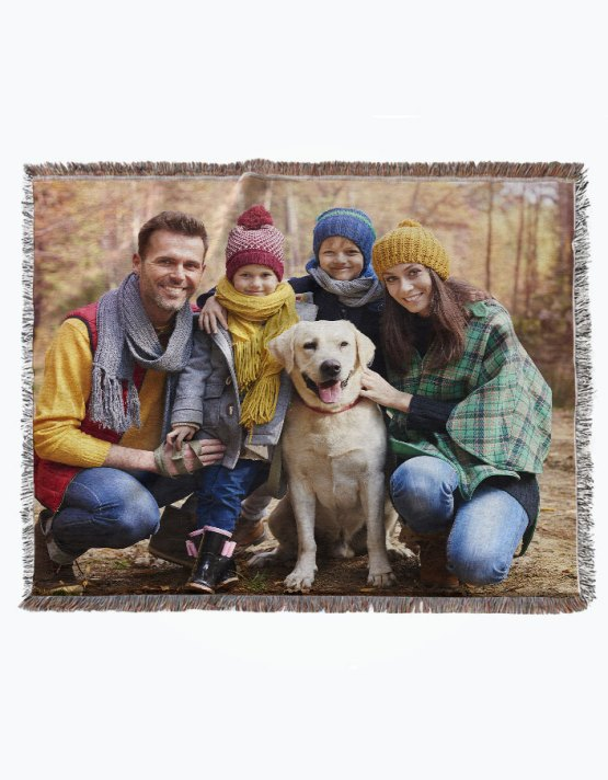 woven photo blanket of family portrait