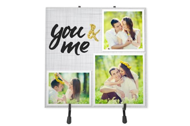 You and Me Ceramic Photo tile with Stand