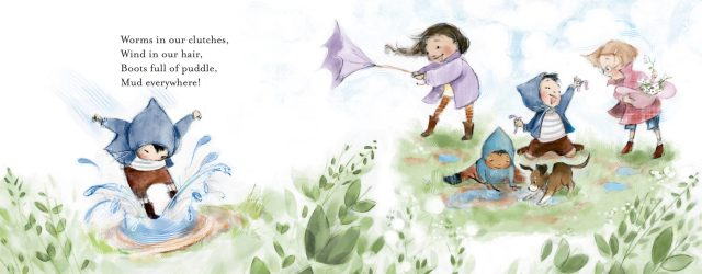 Interior artwork of children playing outdoors from Bringing The Outside In