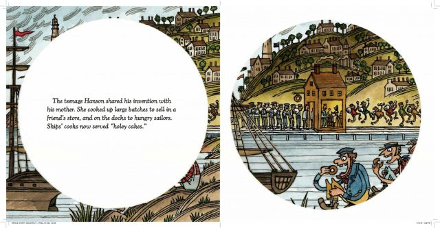 Interior spread of sailors eating doughnuts from The Hole Story of The Doughnut