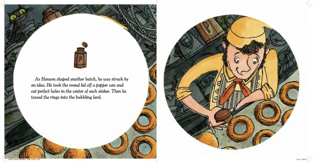 Interior spread of first doughnut invention from The Hole Story of The Doughnut