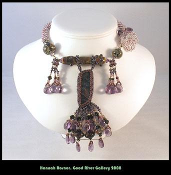 Beaded Beadwoven Lampwork Glass Bead Pietersite Purple Peyote Stitch Crochet Necklace