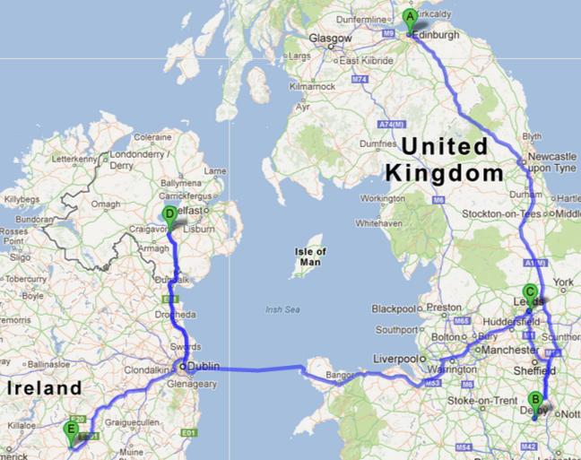 The team's trek across UK and Ireland
