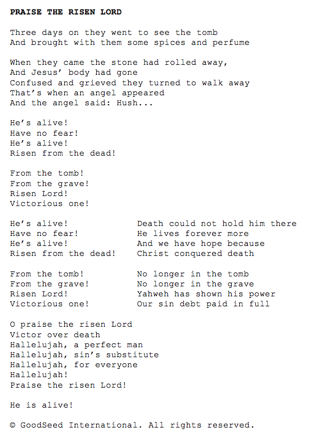 Praise the Risen Lord lyrics