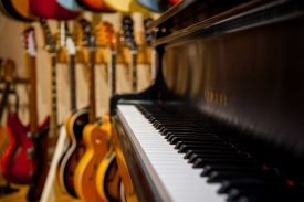 The studio has 40 guitars, as well as a Yamaha grand piano.