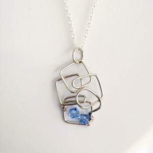 Handmade wire squares charm with light blue Swarovski